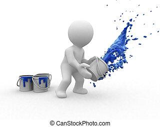 3d painter human that throw a big blue splash