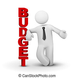 3d business man presenting concept of budget isolated white background