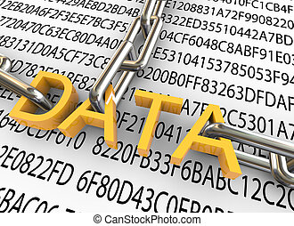3d text 'data' with closed chain on the background of hexadecimal data.