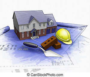 3D house under construction with partial watercolor effect