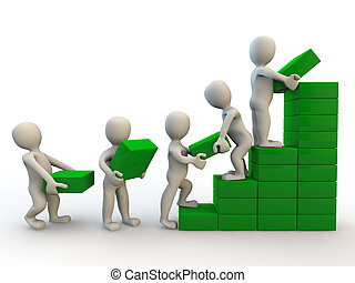 3d human characters making graph of growth, isolated on white