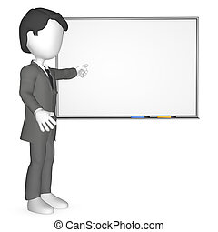 3D Human infront of a Whiteboard