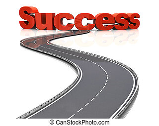 3d illustration of road to success concept, over white background