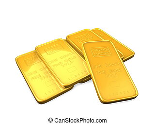 3d image, Gold bars, isolate background