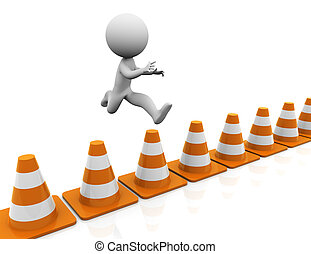 3d man jumping over traffic cones