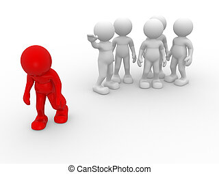 3d people - human character , person. Discrimination concept. Different. 3d render illustration