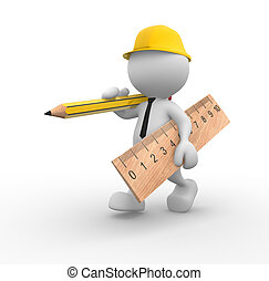 3d people - man, person with wooden pencil and ruler. Builder