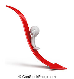 3d person rolls down the red arrow. 3d image. Isolated white background.