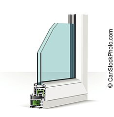 3d plastic window profile. illustration on white