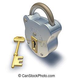 3d render of padlock and key illustration