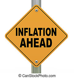 3d illustration of yellow roadsign of inflation ahead