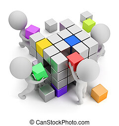 3d small people - concept of creating. 3d image. White background.