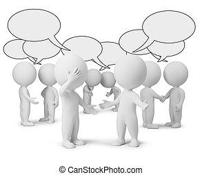 3d small people with empty chat bubbles. 3d image. Isolated white background.