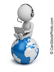 3d small person sitting on planet Earth with a laptop and headphones. 3d image. Isolated white background.
