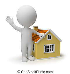 3d small people near to the small house. 3d image. Isolated white background.