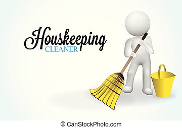 3D small people housecleaning