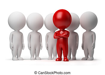 3d small person the leader of a team allocated with red colour. 3d image. Isolated white background.