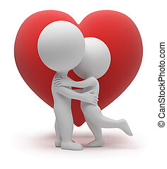 3d small people kiss. Red heart. 3d image. Isolated white background.