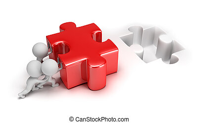3d small people pushing puzzle