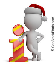 3d small people - Santa and info icon