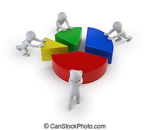 3d small people - teamwork statistics
