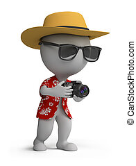3d small person - tourists in a Hawaiian shirt, hat and sunglasses with a camera. 3d image. Isolated white background.