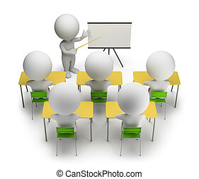 3d small people studying in training courses. 3d image. White background.