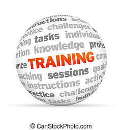 3d Training Word Sphere on white background.