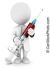 3d white people with a syringe