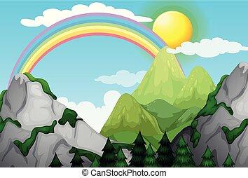 A Beautiful Mountain Landscape and Rainbow