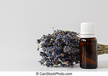 A bottle of essential oil with dried lavender plants on a white background