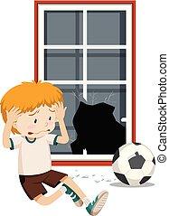 A boy break window with football