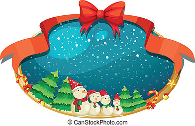 Illustration of a christmas decor with four snowmen on a white background