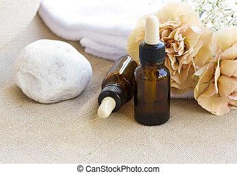 A dropper bottle of essential oil