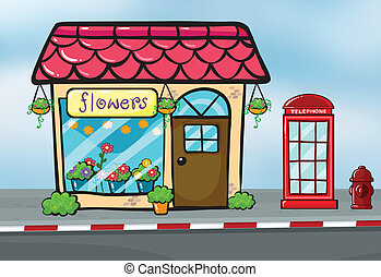 A flower shop and a callbox