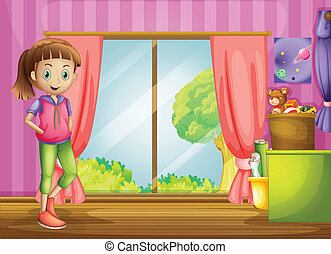A girl inside the house with her toys