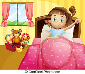 A girl lying in her bed with a pink blanket