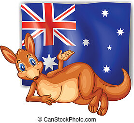Illustration of a kangaroo in front of the Australian flag on a white background