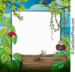 Illustration of a lady bug and a white board in a beautiful nature
