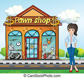 A lady standing beside the pawnshop