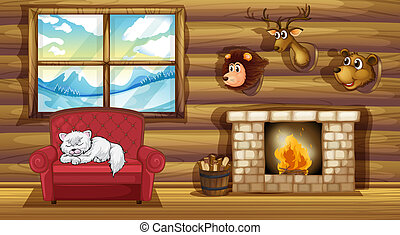 A living room with stuffed animal head decors