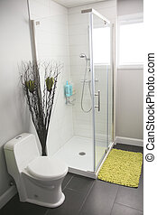 A modern bathroom with shower in a house.