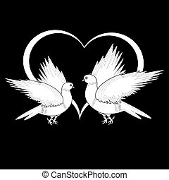 A monochrome sketch of two flying doves and a heart. Vector-art illustration