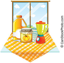 A table with a blender and containers