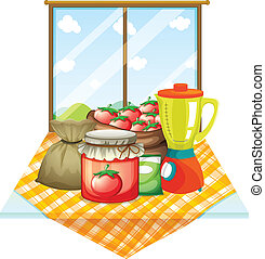 A table with foods near the window