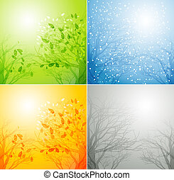 A tree in four different seasons