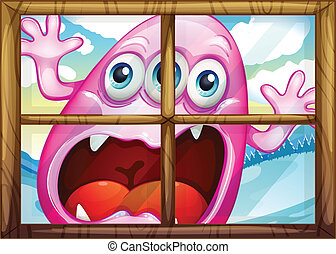 A window with a monster