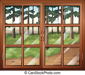 A window with clear glasspanes