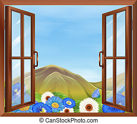 A window with flowers outside