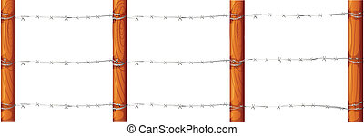 A wooden fence with barbwires